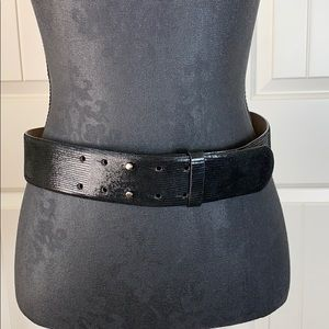 Ann Taylor Shiny Black Leather Belt